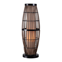 Kenroy - Kenroy 32247RAT Biscayne Outdoor Table Lamp - A glowing pillar radiates from inside a cage of all-weather rattan.  Biscayne's beautiful interplay of shape, texture and scale strikes an exotic pose.