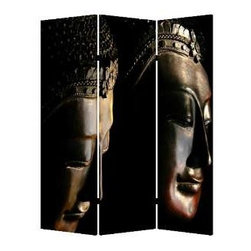 Buddha Screen - Create a zen zone in your favorite setting — perfect for contemplation, intimacy or simply getting away from it all. This three-panel, double-sided screen lets you section off  your space, and it's made of lightweight canvas to reposition anywhere with ease.