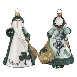 Frontgate - Glitterazzi International Ireland Santa Ornament - Each ornament takes up to 7 days to produce. Constructed of 100% European-made glass. Arrives in a handsome black lacquered box for gifting and safekeeping. Hanger is included for easy display. Our collectible Glitterazzi International Ornament from Joy to the World was created with the utmost attention to quality and detail. The finest artisans in Poland individually mouth blow and hand paint each ornament, achieving new levels of innovation and artistic integrity in their designs. Using only traditional old world production methods and materials sourced from European countries, they ensure that each ornament is an impressive work of art that will be treasured for generations. . . . . Made in Poland.