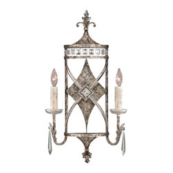 Fine Art Lamps - Winter Palace Sconce, 323550ST - Your home is your castle, so show your regal side with this two-light sconce. It features a cross and diamond pattern with leafy flourishes in an antiqued silver finish and comes adorned with channel-set crystals, crystal drops and two faceted bulbs. It's a great way to add old-world elegance and brilliant sparkle to your palace.