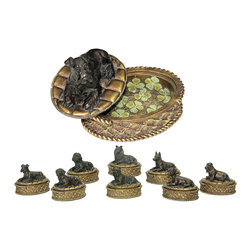 Sterling Industries - Sterling Industries Lucky Dog Boxes X-7971-19 - These Sterling Industries Lucky Dog boxes are sure to delight thanks to their charming dog statue tops, which have been finished in a dark bronze hue. The box, which features beautiful traditional details, has been done in a gold hue while four leaf cloves line the interior.