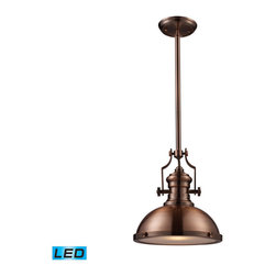Elk Lighting - Landmark Lighting Chadwick 66144-1-LED 1-Light Pendant in Antique Copper - LED O - 66144-1-LED 1-Light Pendant in Antique Copper - LED Offering Up To 800 Lumens belongs to Chadwick Collection by Landmark Lighting The Chadwick Collection Reflects The Beauty Of Hand-Turned Craftsmanship Inspired By Early 20Th Century Lighting And Antiques That Have Surpassed The Test Of Time. This Robust Collection Features Detailing Appropriate For Classic Or Transitional decors. White Glass Compliments The Various Finish Options Including Polished Nickel, Satin Nickel, And Antique Copper. Amber Glass Enriches The OiLED Bronze Finish. - LED Offering Up To 800 Lumens (60 Watt Equivalent) With Full Range Dimming. Includes An Easily Replaceable LED Bulb (120V). Pendant (1)