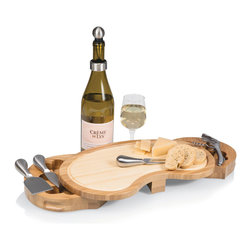 Picnic Time - Picnic Time Mariposa Bamboo Cheese Board with Wine and Cheese Accessories - Enjoy a delightful snack with this gourmet cheese board from Picnic Time. The piece includes knives for spreading cheese and wine-opening tools to make your meal more enjoyable. It also features two swivel drawers for your tool-storing needs.