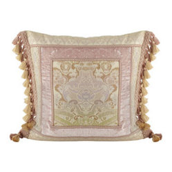 "Dian Austin Couture Home Pillow w/ Framed Damask Center & Side Tassels, 20""Sq."