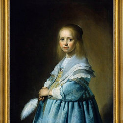 """Johannes Cornelisz Verspronck-16""""x20"""" Framed Canvas - 16"""" x 20"""" Johannes Cornelisz Verspronck Portrait of a Girl Dressed in Blue framed premium canvas print reproduced to meet museum quality standards. Our museum quality canvas prints are produced using high-precision print technology for a more accurate reproduction printed on high quality canvas with fade-resistant, archival inks. Our progressive business model allows us to offer works of art to you at the best wholesale pricing, significantly less than art gallery prices, affordable to all. This artwork is hand stretched onto wooden stretcher bars, then mounted into our 3"""" wide gold finish frame with black panel by one of our expert framers. Our framed canvas print comes with hardware, ready to hang on your wall.  We present a comprehensive collection of exceptional canvas art reproductions by Johannes Cornelisz Verspronck."""