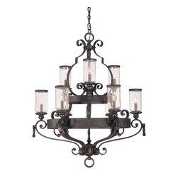 Savoy House - Savoy House 1-6981-9-17 Highlands 9 Light Chandelier - This distinctive collection has a beautiful Forged Black finish and Clear Seeded glass globes which will glow beautifully in your home.