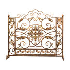 Luxury bronze and gold custom iron fireplace screen. - Add a unique look to your fireplace with this handcrafted, one-of-a-kind dark bronze and gold iron fireplace screen.