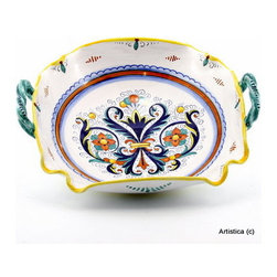 "Artistica - Hand Made in Italy - Ricco Deruta: Oblong Fluted Bowl with 2 Handles - This is the true original version of the most celebrated Deruta's design, which traces its origins to the sixteenth century; the renown ""Ricco Deruta""."