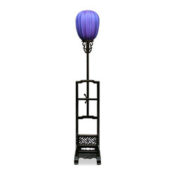 China Furniture and Arts - Elmwood Imperial Lantern - Once only seen in the Forbidden City in Beijing China, the imperial lamp is now available for the public. Displayed on a wooden stand with hand-carved decorative designs, the Chinese purple silk lamp shade gives out mellow shimmering light that provide you with a unique artistic experience. Adjustable height. 40-watt max (bulb not included)