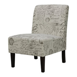 """Cortesi Home - Chicco Script Armless Accent Chair - The armless Chicco Script accent chair will add character to any of your rooms with its elegant and charmful fabric. It is upholstered in a beige linen fabric with a script pattern and legs that come in a cappuccino finish. This chair is excellent quality with a solid wooden frame, spring support construction, and a popular fabric. Seat Height: 16"""""""