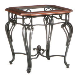 """Holly & Martin - Holly & Martin Newcastle End Table X-83-4-420-671-10 - Grace your home with the true elegance of this beautiful end table. Scrolled black iron legs and a beveled glass top with dark cherry trim are combined for a truly wonderful accent piece for your home. The metal legs are hand crafted with delicate curves and symmetrical details from top to bottom. The traditional styling is timeless and with durable metal construction you are sure to enjoy such a wonderful piece for years to come.    - FEATURES:                                                                                             - Black metal frame                                                                                     - Dark cherry trim                                                                                      - Clear tempered, beveled glass top                                                                     - PRODUCT SPECIFICATIONS:                                                                               - Approx. weight: 34 lb.                                                                                - Supports up to: 40 lb.                                                                                - Assembly required                                                                                     - Overall: 22"""" W x 22"""" D x 23.5"""" H"""