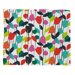 DENY Designs - Zoe Wodarz Lazy Day Floral Fleece Throw Blanket - This DENY fleece throw blanket may be the softest blanket ever! And we're not being overly dramatic here. In addition to being incredibly snuggly with it's plush fleece material, it's maching washable with no image fading. Plus, it comes in three different sizes: 80x60 (big enough for two), 60x50 (the fan favorite) and the 40x30. With all of these great features, we've found the perfect fleece blanket and an original gift! Full color front with white back. Custom printed in the USA for every order.