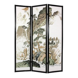 Oriental Unlimited - 6 ft. Tall Landscape Design Shoji Screen in Black Finish (3 Panels) - Choose Number of Panels: 3 PanelsA lovely Japanese inspired mountain scene unfolds across the panels of this decorative Shoji screen with black finished frame. White rice paper provides the perfect backdrop for this picture. Two way hinges allow panels to be bent to best display this piece. Screens may vary slightly in color. A matchstick room divider with a beautiful Japanese brush art. A mountain landscape printed on the front of the shades. Display as an art screen. Display for privacy and to define space. Crafted from durable, lightweight Scandinavian spruce. Crafted using Asian style mortise and tenon joinery. Fold slightly to stand upright. Shade is strong. Fiber reinforced. Pressed pulp rice paper allows diffused light yet provides complete privacy. Lacquered brass, 2-way hinges mean you can bend the panels in either direction. Black finish. Assembly required. Each panel: 17.5 in W x .75 in. D x 72 in. H. 3-Panel screen: 53 in. wide (flat); 45 in. wide (panels folded)