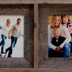MyBarnwoodFrames - Collage Frames 5x7 With 4 Openings, Barnwood - Collage  Frames  are  such  a  unique  and  versatile  framing  medium,  and  our  rustic  multi-opening  frames  are  a  perennial  favorite.  There  are  dozens  of  ways  to  hang  them  and  so  many  unique  things  you  can  put  inside,  that  every  frame  we  ship  ends  up  being  a  one-of-a-kind  heirloom.   Unique  Christmas  gifts  are  just  one  of  the  possibilities  you'll  create  when  you  invest  in  barnwood  collage  frames  for  your  friends  and  family.          Product  Specifications:                  Four,  each  accommodates  one  5x7  photo              Exterior  Dimensions:  Approximately  33  inches  wide  by  11  inches  high  by  1.5  inches  deep.              Reclaimed  barnwood              Glass  and  hanging  hardware  are  included              Hang  vertically  or  horizontally              Made  in  USA              Collage  frames  are  also  called  multi-opening  frames.  They  are  a  unique  method  for  hanging  several  portraits  at  the  same  time.  For  example,  a  simple  portrait  of  a  baby  in  a  series  of  fun  poses  makes  the  perfect  holiday  gift  for  a  doting  Grandmother.  Fill  one  with  your  favorite  artwork.  There  are  dozens  of  beautiful  ways  to  turn  a  rustic  collage  frame  into  unique  wall  decor.          Country  Kitchen  Wall-Hanging:  The  design  of  this  unique  frame  allows  you  to  remove  the  glass  and  insert  3-D  items  in  place  of  photos.  Your  barnwood  frame  can  be  painted  any  color,  so  it  can  be  turned  into  delightful  wall  decor  for  a  child's  bedroom,  a  craft  room,  or  a  country  kitchen.  Hang  the  frame  vertically,  as  shown,  or  hang  it  horizontally.  There  are  so  many  fun  ways  to  use  a  four-opening  multi  frame!          Family  Photos:  A  collage  frame  is  a  perfect  way  to  showcase  your  favorite  family  memories          Create  a  Memory  Keepsake:  Frame  photos  of  that  beloved  family  pet,  of  a  grandfather  who  has  passed  away,  or  friends  from  your  old  neighborhood.          Holiday  Wall  Hangings:  With  a  little  creativity,  you  can  turn  this  frame  into a one-of-a-kind  holiday  wall  hanging.   Add  your  own  handmade  holiday  cross  stitch.   Put  in  letter  cutouts  to  spell  the  word  SNOW.  Insert holiday-themed  greeting  cards,  bats  and  witches  for  Halloween,  wooden  cutouts  of  pilgrims  for  Thanksgiving,  cherished  tree  ornaments  for  Christmas.   Switch  the  scene  every  season.  The  possibilities  are  endless.           View  our  other  collage  frames  for  more  great  ideas.