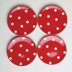 Tag Everyday - Polka Dot Appetizer Plates - Set of 4 - Perfect for that special someone. Dolomite. Hand painted. Dishwasher safe/ may get hot in microwaveColor: Red. 6.875 in. dia .
