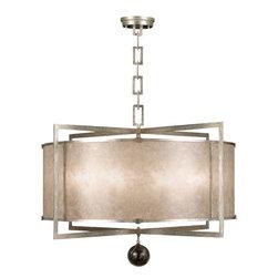 Fine Art Lamps - Fine Art Lamps 591540-2ST Singapore Moderne Silver Leaf Pendant - 8 Bulbs, Bulb Type: 60 Watt Candelabra; Weight: 52lbs