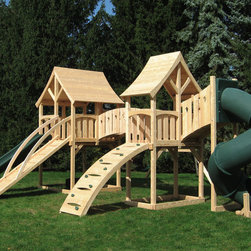 Majestic Double - White cedar swing set with two forts connected by a arched bridge