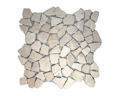 """CNK Tile - Ecru White Mosaic Tile - Each pebble is carefully selected and hand-sorted according to color, size and shape in order to ensure the highest quality pebble tile available.  The stones are attached to a sturdy mesh backing using non-toxic, environmentally safe glue.  Because of the unique pattern in which our tile is created they fit together seamlessly when installed so you can't tell where one tile ends and the next begins!     Usage:    Shower floor, bathroom floor, general flooring, backsplashes, swimming pools, patios, fireplaces and more.  Interior & exterior. Commercial & residential.     Details:    Sheet Backing: Mesh   Sheet Dimensions: 12"""" x 12""""   Pebble size: Approx 3/4"""" to 2 1/2""""   Thickness: Approx 1/2""""   Finish: Ecru White Natural"""