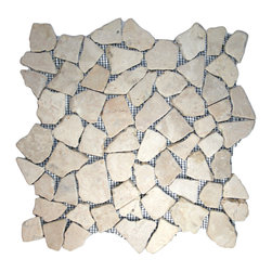 "CNK Tile - Ecru White Mosaic Tile - Each pebble is carefully selected and hand-sorted according to color, size and shape in order to ensure the highest quality pebble tile available.  The stones are attached to a sturdy mesh backing using non-toxic, environmentally safe glue.  Because of the unique pattern in which our tile is created they fit together seamlessly when installed so you can't tell where one tile ends and the next begins!     Usage:    Shower floor, bathroom floor, general flooring, backsplashes, swimming pools, patios, fireplaces and more.  Interior & exterior. Commercial & residential.     Details:    Sheet Backing: Mesh   Sheet Dimensions: 12"" x 12""   Pebble size: Approx 3/4"" to 2 1/2""   Thickness: Approx 1/2""   Finish: Ecru White Natural"