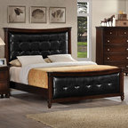 "Acme Furniture - Amaryllis Queen Bed in Cherry Finish/Black PU - Amaryllis Queen Bed in Cherry Finish/Black PU; Finish: Cherry Finish/Black PU; Dimensions: 58""H"