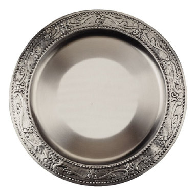 Old Dutch - Old Dutch Embossed Victoria Charger Plate (Set of 6) - These Old Dutch charger plates create an elegant table top for a special occasion. They are made from an antique pewter plated steel for a brilliant look.