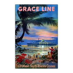 Trademark Art - Graceline Cruise Ship Travel Poster Wall Art - Island hopping at sunset is the theme of this sensational vintage style travel poster for Grace Line cruise ships.  You can almost hear the rhythm of the sweet Caribbean music and feel the gentle ocean breeze on your face as the luscious scenery engages your imagination. This fantastic extra large Giclee reproduction on canvas is a museum quality print. It's great for a vacation house or anywhere you'd like to bring a splash of fun color to a room. Giclee on canvas. Traditional style. Subject: Vintage. Format: Vertical. Size: Extra large. Canvas material. 32 in. W x 47 in. H (11 lbs.)Giclee is an advanced printmaking process for creating high quality fine art reproductions. The attainable excellence that Giclee printmaking affords makes the reproduction virtually indistinguishable from the original artwork. The result is wide acceptance of Giclees by galleries, museums and private collectors.
