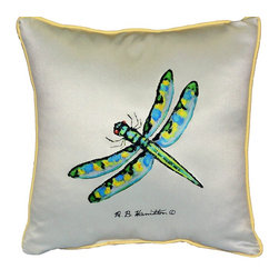 Betsy Drake Interiors - Green Dragonfly Indoor-Outdoor Pillow - Use Intdoors Or Outdoors. Brightens Up Any Room Or Patio.  Fade Resistant, Tough And Durable.  Spot Clean With Soap And Water.