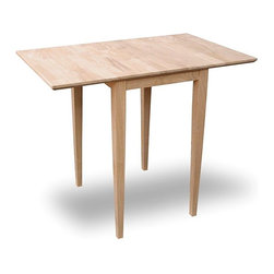 International Concepts - Drop-Leaf Dining Table for Small Spaces - Made Unfinished Solid Parawood. Dual drop leaf design. Each Leaf: 9 in.. Shaker Legs. Minimum: 18 in. L x 22 in. W x 29.25 in. H . With 1 leaf open: 27 in. L x 22 in. W x 29.25 in. H . Maximum: 36 in. L x 22 in. W x 29.25 in. H . Leg Dimension: 1.75 in. L x 1.75 in. W x 28.38 in. H . 31 lbs.