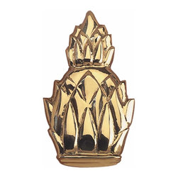 The Renovators Supply - Door Knockers Lacquered Solid Brass Pineapple Door Knocker | 98423 - Door Knocker. Knock- knock! Once a sign of their homeowner?s profession- doorknockers now come in a variety of designs & finishes for everyone?s style. Step-up your curb appeal & add value to your home with finishing touches like a knocker. Made of 100% solid brass these knockers are a knock out! Polished & lacquered to prevent tarnishing this knocker is both beautiful & functional. Easy installation- thread bolts through the door for secure mounting. Measures 6 H x 3 1/2 W.