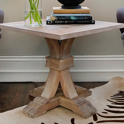 Stone Washed Pedestal Table - This is a Sample Sale Item.  Lightly used but still in good condition.