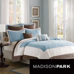 Madison Park - Madison Park Franklin 7-piece Coverlet Set - Update the look of your bedroom with this Madison Park seven-piece coverlet set. This ensemble features taupe and ivory colors that complement each other perfectly, creating a neutral look to match your decor. The super-soft microfiber ensures comfort.