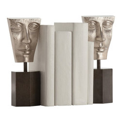 Arteriors - Fleming Bookends Set of 2 - Faced with an untidy bookshelf? This cast aluminum and iron bookend set will add sculptural interest and keep your favorite tomes together. Turn the heavy hexagon bottoms in any direction to create unique and striking visual arrangements you'll never get tired of.