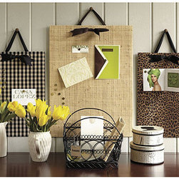 Ballard Designs - Large Magnetic Board - Grosgrain ribbon hanger. Includes 12 strong magnets. Great as a kitchen magnetic board for to-do lists or as a small magnetic board in the office to keep work organized. Metal board is covered in fashionable fabrics. Decorative Magnetic Board features:.  .