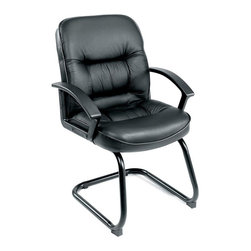 Boss - Mid Back Leatherplus Guest Chair - Beautifully upholstered with LeatherPlus. Executive Mid Back styling with extra lumbar support. Extra thick seat and back cushion. Cantilever sled base. Durable polypropylene armrests. Match guest chair for (B7301) and (B7306).