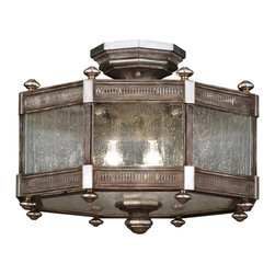 Fine Art Lamps - Villa Vista Semi-Flush Mount, 809240ST - This octagonal ceiling lantern is full of historic atmosphere, from the romantically weathered silver driftwood finish to the textured seedy glass panels that distort the light like rainy windows. Try it in a vintage, nautical or coastal-themed bedroom, and it might remind you of an antique lighthouse.