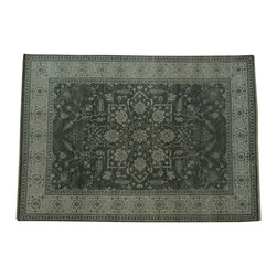 1800-Get-A-Rug - Antiqued Heriz Hand Knotted Rug Silver Wash Sh10410 - About Tribal & Geometric