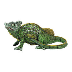 "EttansPalace - 6"" Tall Legendary Veiled Chameleon Garden Statue - Easily the most versatile guest at a garden party, if our chameleon statue arrives wearing the wrong color voil he'll change! Though we're strictly kidding about his legendary abilities, our favorite amphibian sculpture still makes a showy entrance in his hand-painted hues. Cast in quality designer resin exclusively for, our sun-loving omnivore is capable of lying still for extended periods, making him the perfect garden companion. 14Wx5Dx6H. 3 lbs."