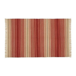 Dennis Stripe Recycled Yarn Indoor/Outdoor Rug Rug, 8 x 10', Terra Cotta - Our handwoven rug's charismatic stripes have a subtly sun-bleached look that's warm and casual. Our rug features a hand-knotted fringe and reversible design, and is crafted of recycled materials. Click here for {{link path='pages/popups/wool_rug_care_popup.html' class='popup' width='480' height='300'}}recommended care{{/link}}. Handwoven of our exclusive recycled polyester yarns. Yarn dyed for vibrant and lasting color. Easily rinses clean. Reversible. Use with our Rug Pad (sold separately) to help extend the life of your rug. Imported. Watch a video about the entire process of crafting our {{link path='/stylehouse/videos/videos/pbq_v20_rel.html?cm_sp=Video_PIP-_-PBQUALITY-_-HANDMADE_RUGS' class='popup' width='950' height='300'}}handmade rugs{{/link}}. Internet Only.