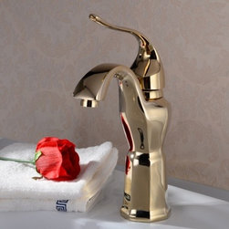 JollyHome - JollyHome Contemporary Bathroom Lavatory Faucets Gold - Complete parts and all install fittings are included.Water pressure tested for industry standard.Easy to keep clean and maintain.Ceramic valve core