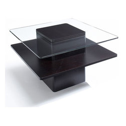 """Jesper - Jesper - Entertainment Collection - 30"""" Square Glass & Wood Coffee Table - Espre - The beauty of real wood captures the warmth of any home or office. Made with the finest real wood veneers and solid wood edges, this collection's high-quality, European designed constructions provides optimum load-bearing performance and life-long stability."""