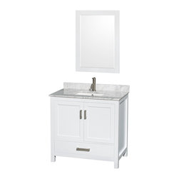 "Wyndham Collection - Sheffield 36"" White Vanity w/ White Carrera Marble Top & Undermount Square Sink - Distinctive styling and elegant lines come together to form a complete range of modern classics in the Sheffield Bathroom Vanity collection. Inspired by well established American standards and crafted without compromise, these vanities are designed to complement any decor, from traditional to minimalist modern. Available in multiple sizes and finishes."