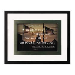 DAX - DAX President's Collection Motivational Frame, One Frame/Four Prints - Liven up the office walls or the cubicle desk with inspirational prints and quotations. Black float frame with pewter accent includes a versatile, removable two-way easel for easy desktop or wall display. Four quotations with beautiful prints included with each frame.