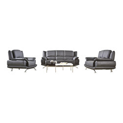 VIG Furniture - 2818 Black Top Grain Leather Three Piece Sofa Set - The 2818 sofa set will add a modern touch to any decor while having you relax in comfort. This sofa set comes upholstered in a beautiful black top grain leather in the front where your body touches. Skillfully chosen match material is used on the back and sides where contact is minimal. High density foam is placed within each piece for added comfort. The sofa set includes one sofa, loveseat, and chair only.