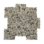 Glass Tile Oasis - Antica Pebbles and Stones Cream/Beige Kitchen Tumbled Natural Stone - Palazzo Pebble mosaics are reminiscent of hand-placed tesserae mosaics from Italian basilicas. Each sheet is available in an interlocking format for seamless installation.