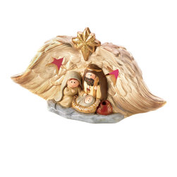 KOOLEKOO - Light-Up Golden Nativity - Sheltered beneath a pair of golden angel's wings, the Holy Family marvels at the miracle of our Savior's birth. Hidden color-changing LED lights add a little dazzle to your holiday decor!