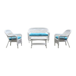 Fine Mod Imports - Portside White Outdoor Set with Blue Cushions - The set includes two chairs, a loveseat, a coffee table and cushions.Features: