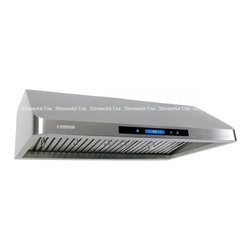 """XtremeAir - Pro-X Series R136 36"""" Under Cabinet Ducted Range Hood With 900 CFM  Internal Blo - XtremeAIR 36 Inch Under Cabinet Range Hood with 900 CFM Dual Blower Stainless Steel Baffle Filters Stainless Steel Oil CaptureTunnel 4 Speed Heat Touch Sensitive Electronic Control LED Lighting System w LCD Display and more"""