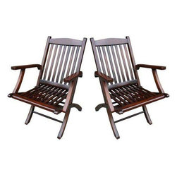 Mahogany Folding Deck Chairs - A Pair - $1,000 Est. Retail - $750 on Chairish.co -