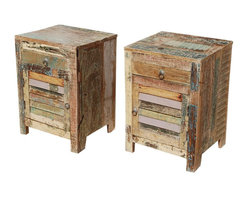 Sierra Living Concepts - Ritter Rustic Reclaimed Wood End Table Nightstand Set - Bring home the combination of Rustic beauty and practical usability.