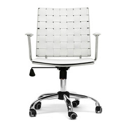 Wholesale Interiors - Vittoria Office Chair in White - Add stylish seating to your home office furniture or use our Vittoria modern office chair as the perfect leather office chair for your business. Conversely, the leather on the backrest is intricately woven. Light foam padding adds additional comfort.
